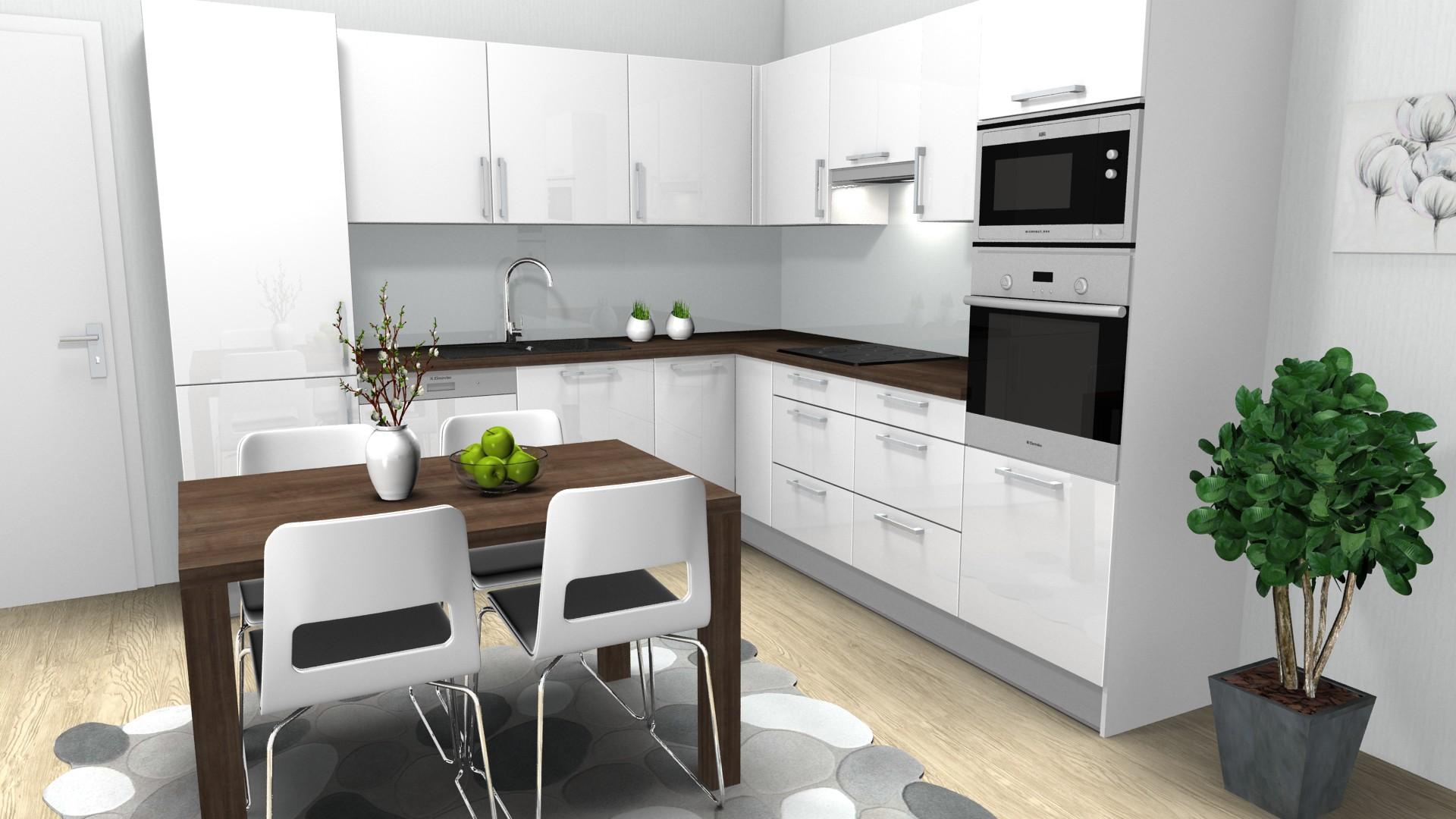 cf2bb7d5c3f7 Návrh kuchyně – Bílá vysoký lesk a ořech – Návrhy kuchyní a interiérů